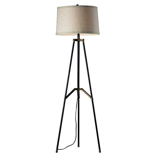Tripod Floor Lamp, Black/Aged Gold