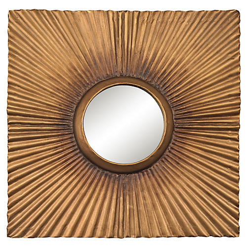 "Terrace 16"" Accent Mirror, Aged Gold"