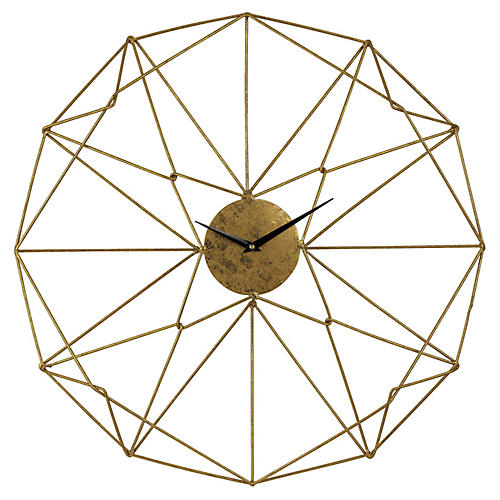 Angular Wirework Wall Clock, Gold
