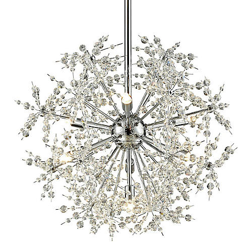 Snowburst 7-Light Pendant, Chrome
