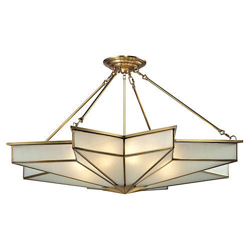 Decostar 8-Light Pendant, Brushed Brass