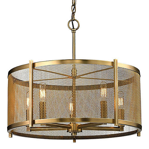Rialto 5-Light Pendant, Aged Brass