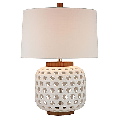 Woven Ceramic Table Lamp, White