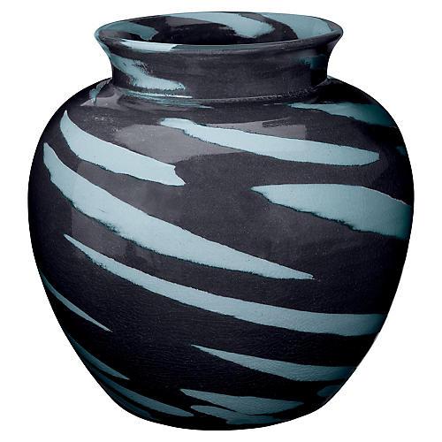 "13"" Sea Tiger Vase, Black/Blue"