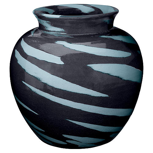 "13"" Sea Tiger Vase, Black/Blue"