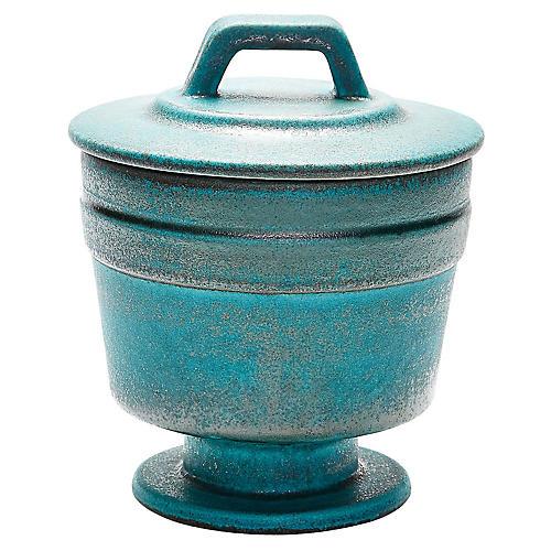 "11"" Patina Lidded Bowl, Blue/Copper"