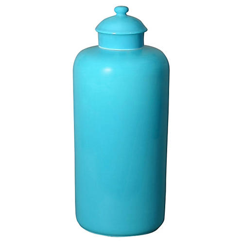 "12"" Porcelain Urn, Turquoise"