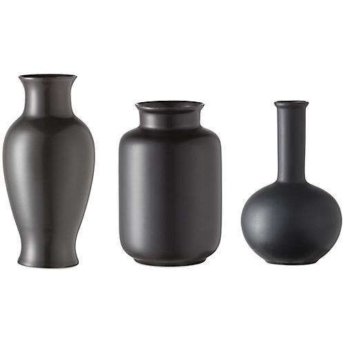 Asst. of 3 Kyra Mini Vases, Black