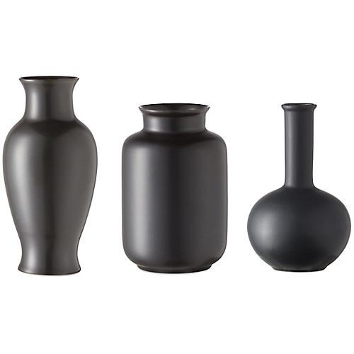 Asst. of 3 Kyra Mini Vases, Black