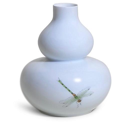 """5"""" Harper Dragonfly Vase, White/Multi"""
