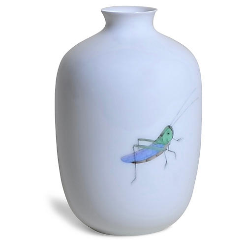 "5"" Terrace Grasshopper Vase, White/Multi"