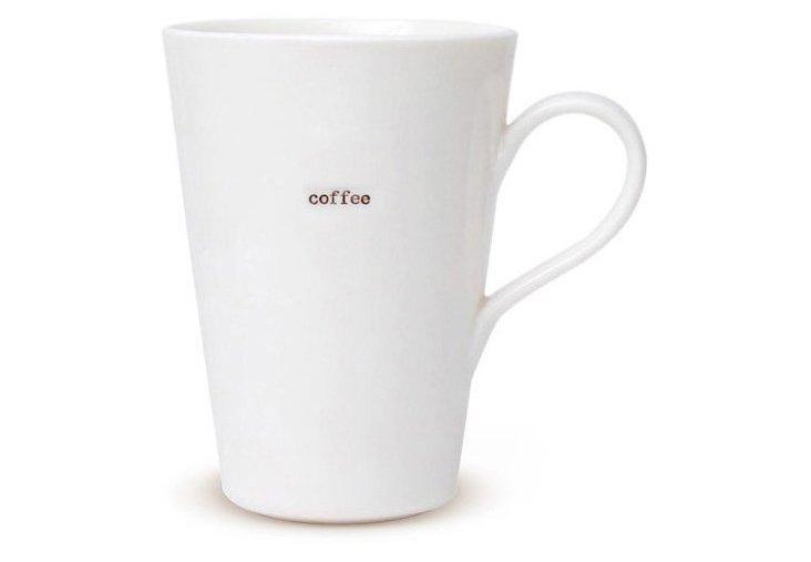 "S/2 Porcelain ""Coffee"" Latte Mugs"