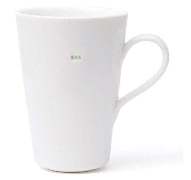 """S/2 Porcelain """"Tea"""" Latte Mugs"""