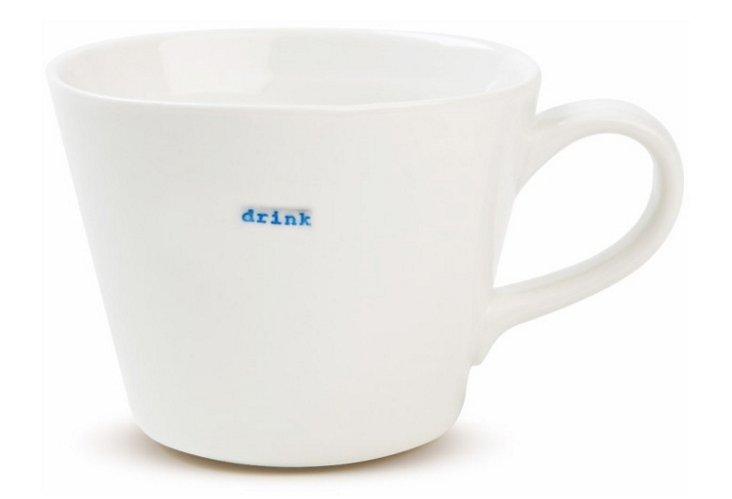 "S/2 Porcelain ""Drink"" Bucket Mugs"