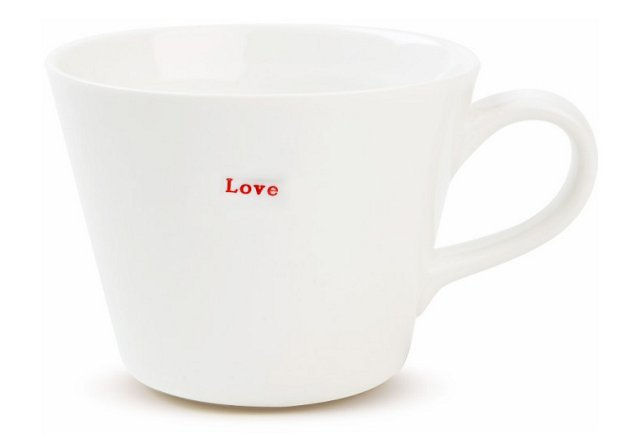 "S/2 Porcelain ""Love"" Bucket Mugs"