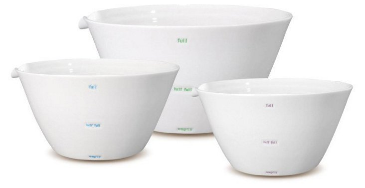 3-Pc Porcelain Measuring Bowl Set