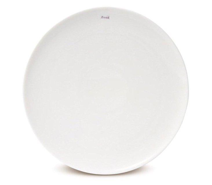 """S/2 Porcelain """"Food"""" Dinner Plates"""