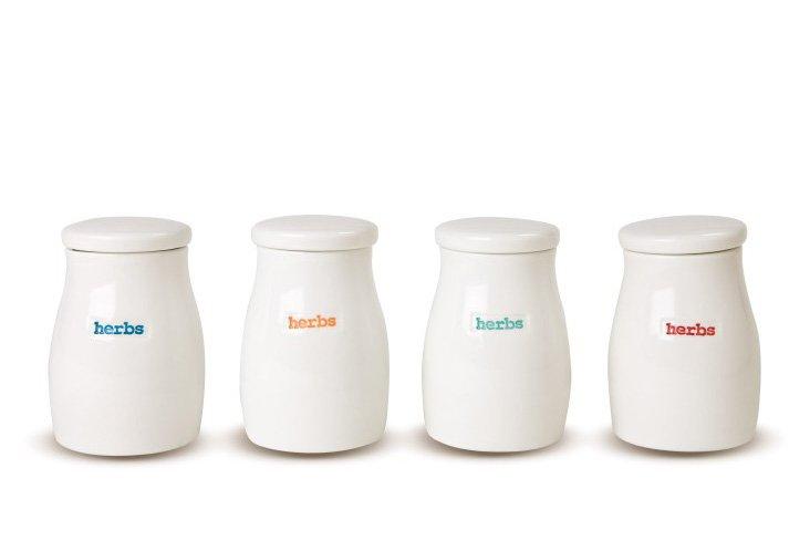 "S/4 Assorted Porcelain ""Herbs"" Pots"
