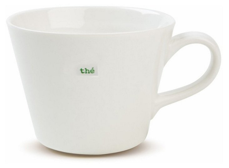 "S/2 Porcelain ""Thé"" Bucket Mugs"