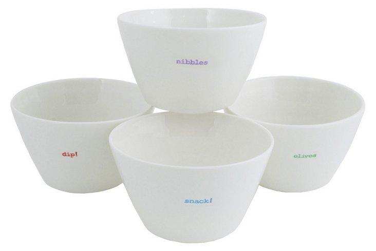 Asst of 4 Porcelain Snack Bowls