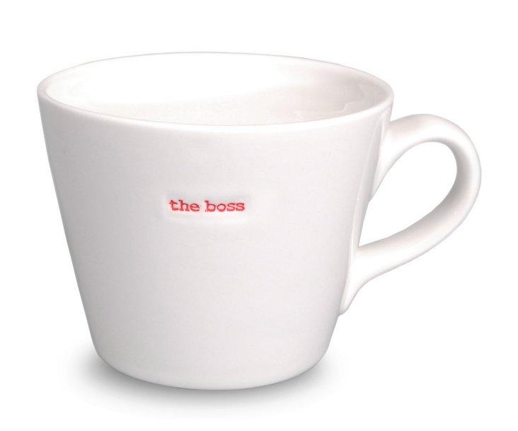 "S/2 Porcelain ""The Boss"" Bucket Mugs"