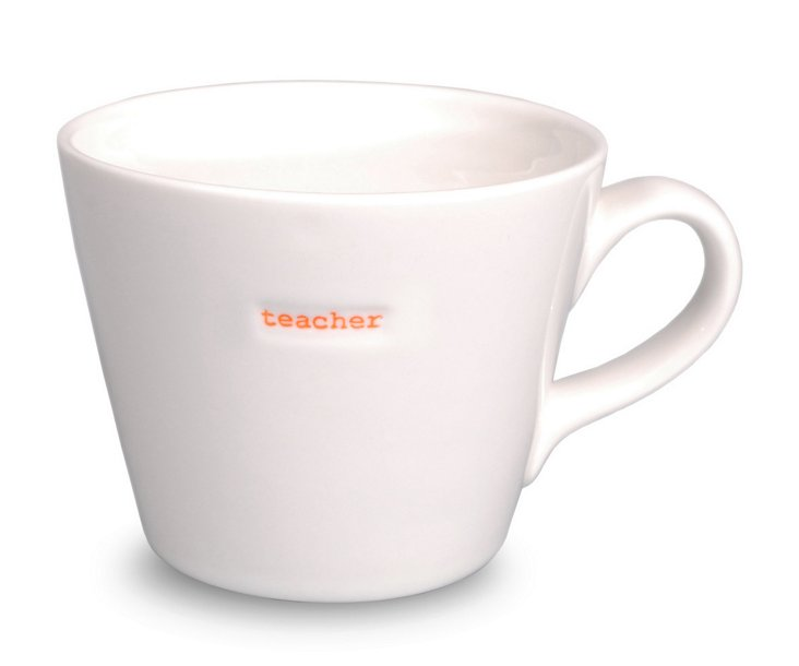 "S/2 Porcelain ""Teacher"" Bucket Mugs"