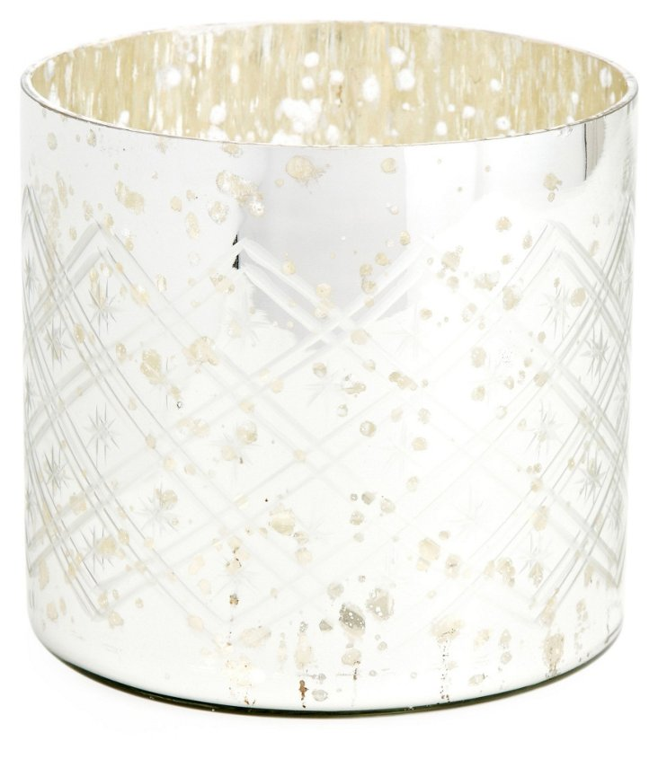 Etched Silver Glass Tea Light, Medium