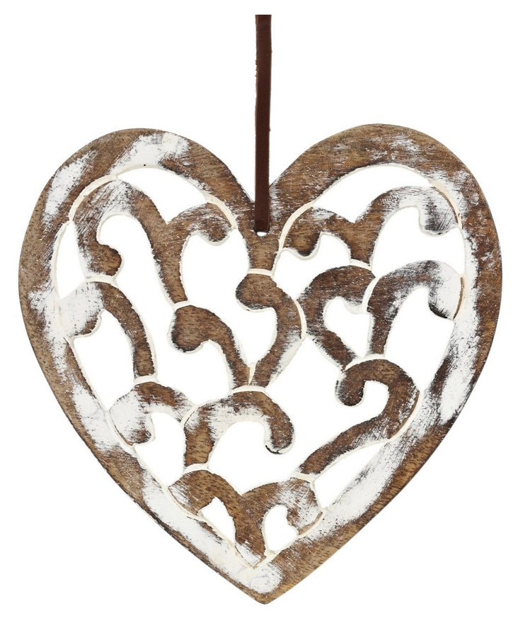 Large Anya Carved Heart, White