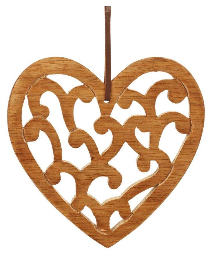 Large Anya Carved Heart, Mango