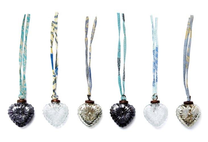 Heart Baubles, Asst. of 6, Blue/Silver