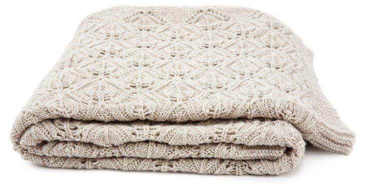 Flora Knitted Throw, Light Beige