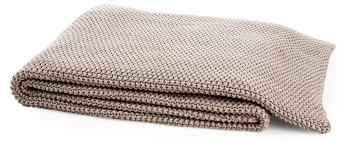 Moss-Stitch Throw, Stone