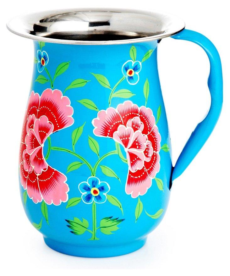 Frangipani Floral Jug, Blue