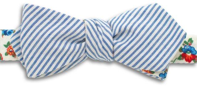 Vintage Seersucker Bow Tie, Blue