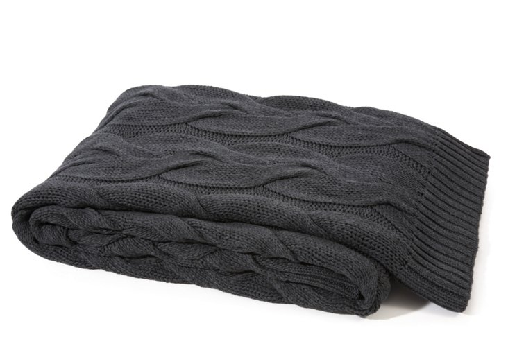Twisted Cable Cotton Throw, Anthracite