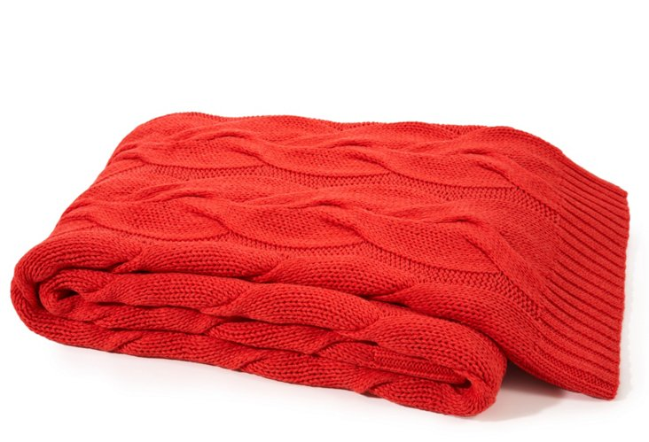 Twisted Cable Cotton Throw, Coral