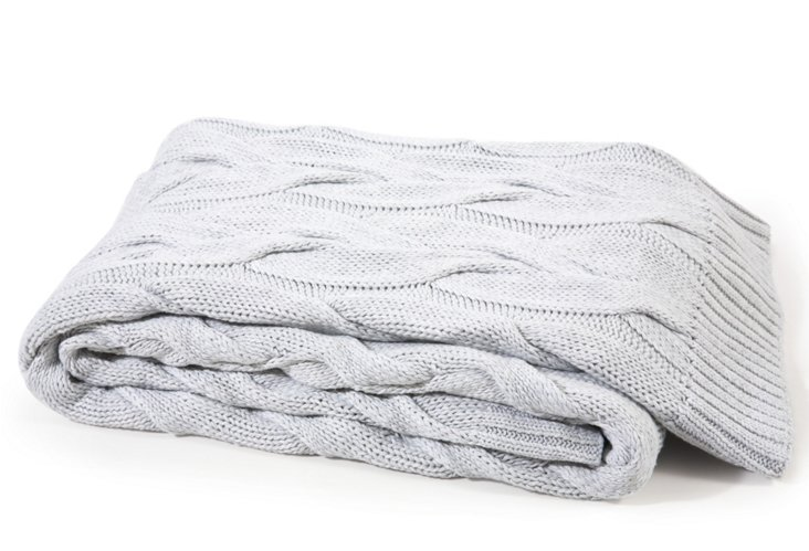 Twisted Cable Cotton Throw, Silver
