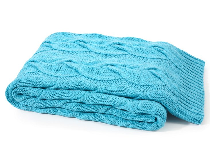 Twisted Cable Cotton Throw, Turquoise