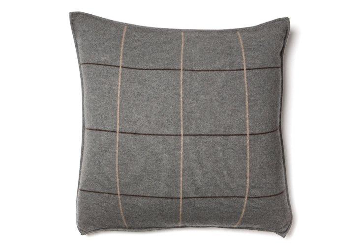 Plaid 21x21 Cashmere Pillow, Anthracite