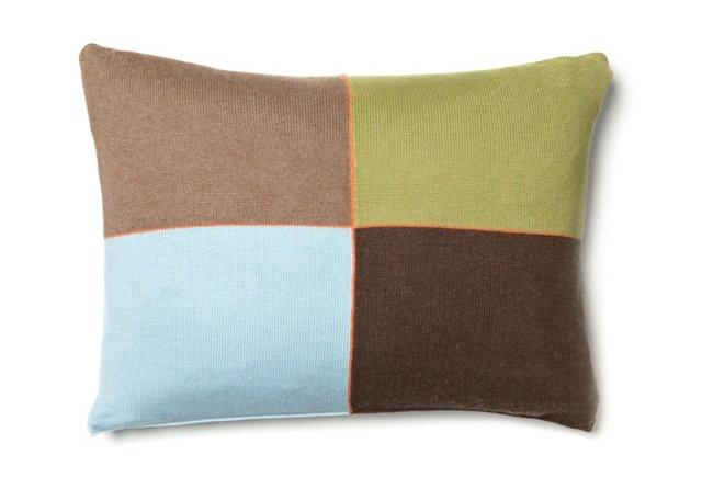 4 Checks 12x16 Pillow, Blue/Multi