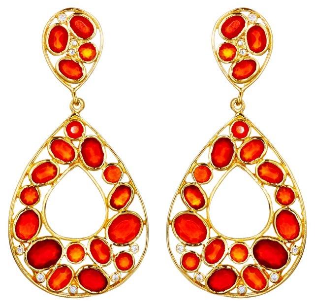Carnelian Teardrop Mosaic Earrings