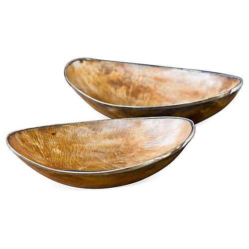 Asst. of 2 Natural Horn Bowls w/ Brass