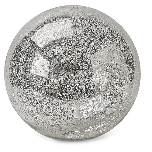 Blown Mercury Glass Sphere, Silver