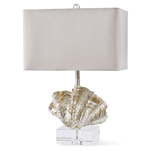 Giant Clam Shell Table Lamp, Silver