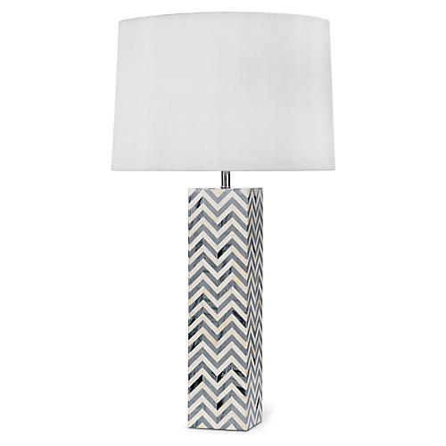 Chevron Bone Table Lamp, Gray
