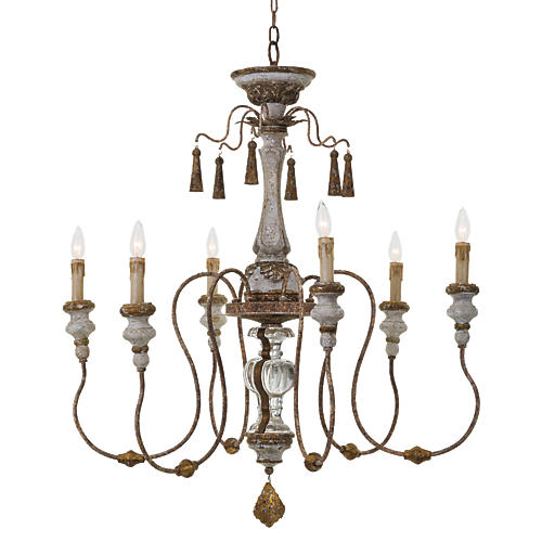 6-Light Maison Chandelier, White/Gold