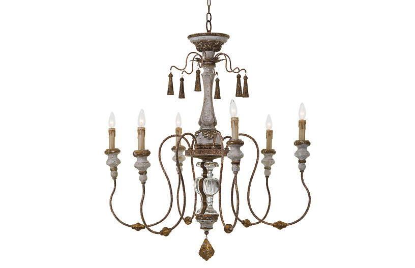 Country Small Chandelier Belgian White Visual Comfort