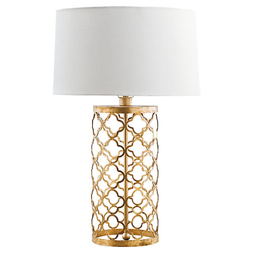 Mosaic Drum Table Lamp, Gold Leaf