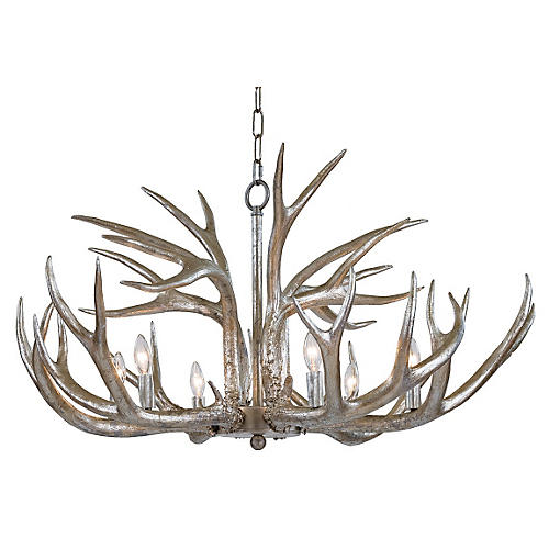 6-Light Antler Chandelier, Silver