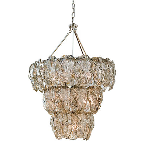 Glass Leaves Chandelier, Silver